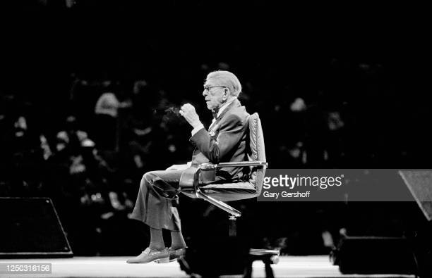 American comedian George Burns performs onstage at Madison Square Garden, New York, New York, October 1, 1989. The performance, billed as 'Burns &...