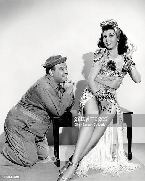 American comedian Joe Besser as Pendelton Pfeiffer and actress Ann Miller as Winnie Clark in a promotional porttrait for 'Hey Rookie' directed by...