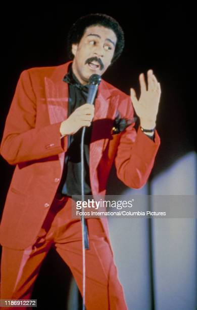 American comedian Richard Pryor he performs a stand-up act for his 'Live on Sunset Strip' special, Los Angeles, California, 1982.