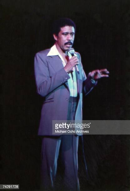 American comedian Richard Pryor performing on stage, circa 1975.