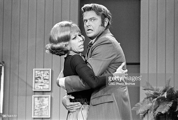 American comedian/actors Carol Burnett and Harvey Korman perform on an episode of the television comedy variety program 'The Carol Burnett Show' Los...