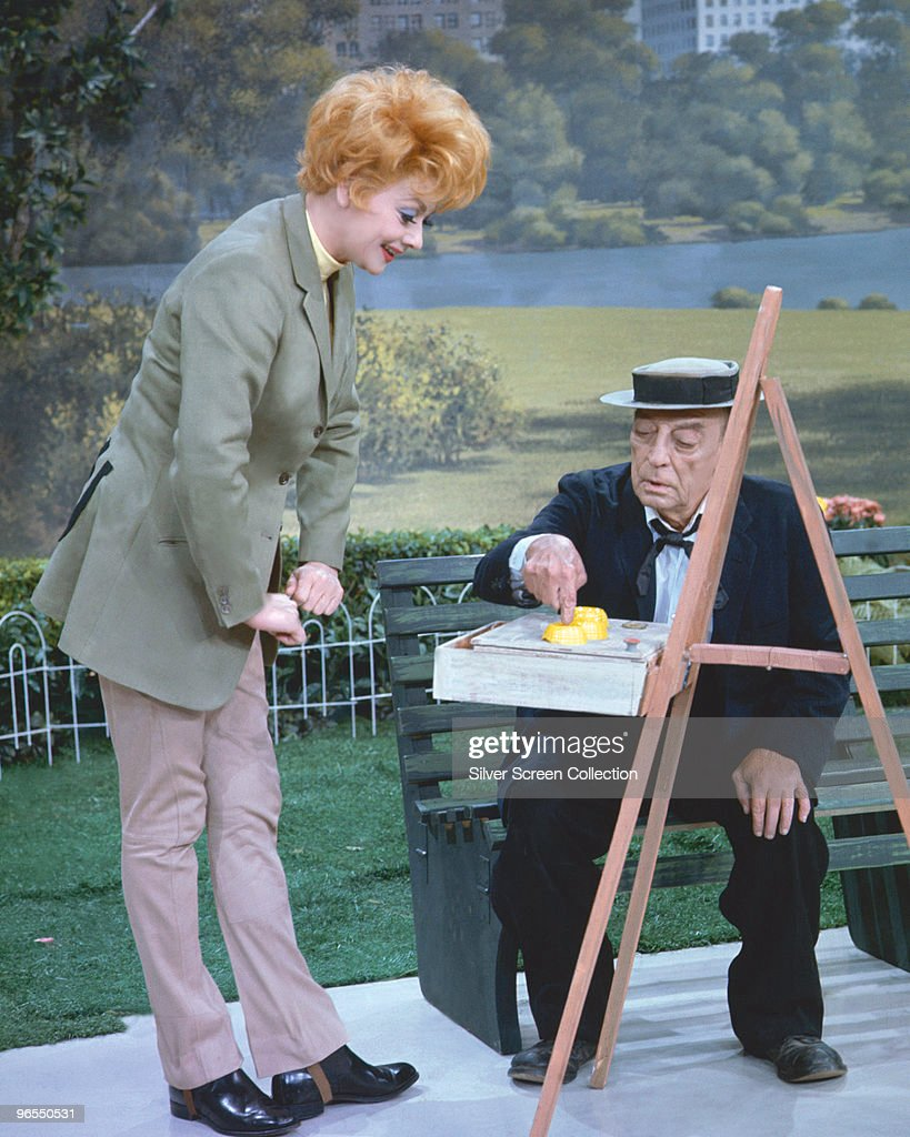American comedians Lucille Ball (1911 - 1989) and Buster Keaton (1895 - 1966) perform a sketch for the television show 'Salute to Stan Laurel', 1965.