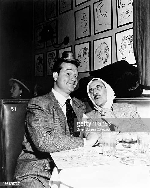 American comedians Red Skelton and Groucho Marx at a Brown Derby restaurant Los Angeles California circa 1950