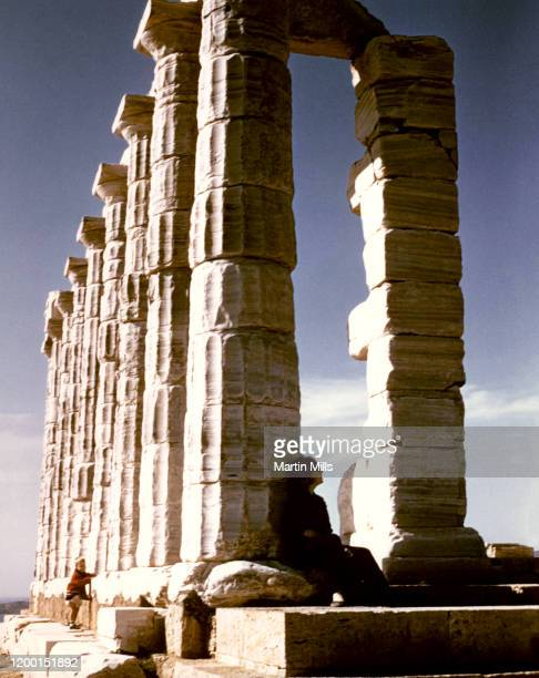 American comedienne actress singer and businesswoman Edie Adams relaxes at the Ancient Greek temple of Poseidon at Cape Sounion circa 1965 in Athens...