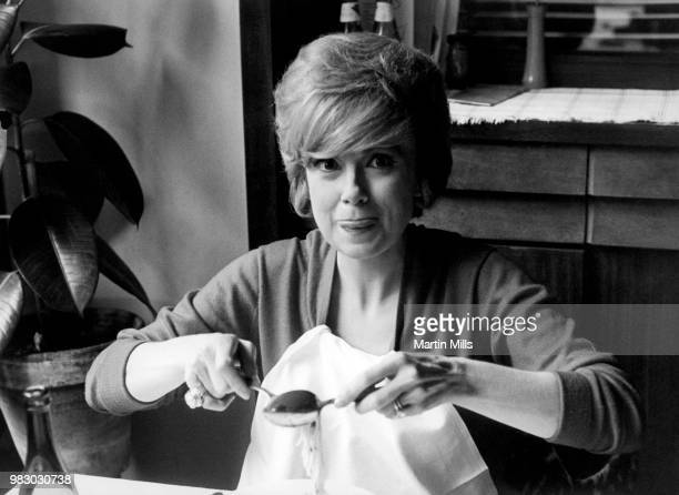 American comedienne actress singer and businesswoman Edie Adams poses for a portrait while eating spaghetti circa 1966 in Rome Italy