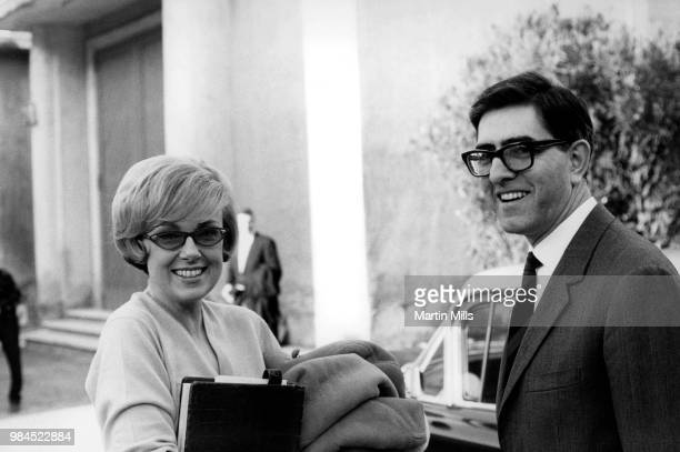 American comedienne actress singer and businesswoman Edie Adams poses for a portrait with a friend during the filming of 'The Honey Pot' circa 1966...