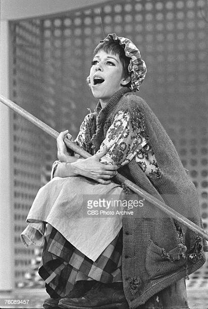 American comedienne and actress Carol Burnett dressed as a charwoman during a skit on 'The Carol Burnett Show' August 26 1967