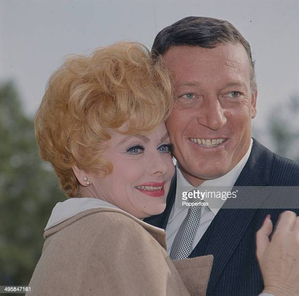 American comedienne and actress Lucille Ball pictured with her husband Gary Morton in 1966