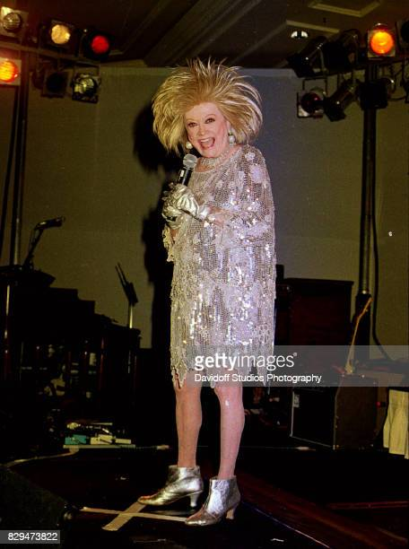 American comedienne and actress Phyllis Diller performs onstage during the 8th annual 'Lady in Red' gala at the Ritz Carlton Manalapan Florida...