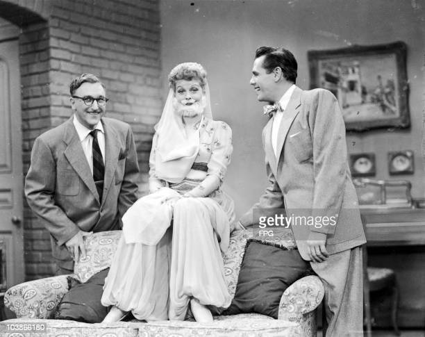 American comedienne Lucille Ball wearing harem pants and a false beard for 'The Moustache', an episode of the television series 'I Love Lucy', 1952....