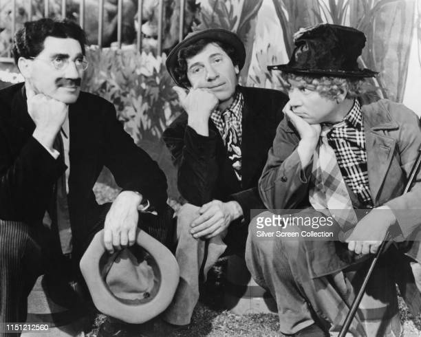 American comedy act the Marx Brothers circa 1935 From left to right Groucho Chico and Harpo Marx