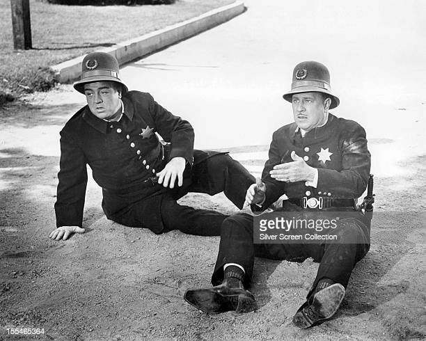 American comedy duo Bud Abbott and Lou Costello in 'Abbott and Costello Meet the Keystone Kops' directed by Charles Lamont 1955