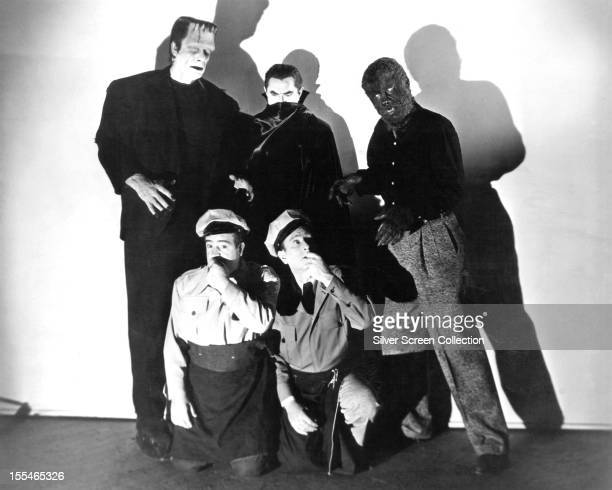 American comedy duo Bud Abbott and Lou Costello with their three monster foes from 'Abbott And Costello Meet Frankenstein' directed by Charles Barton...