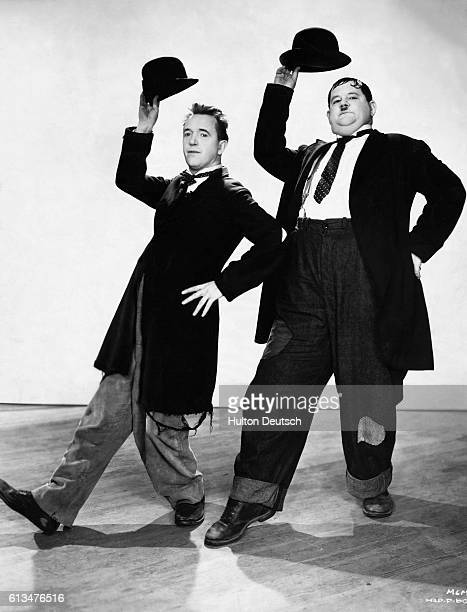 American comedy duo Oliver Hardy real name Oliver Norvelle Hardy and Stanley Laurel real name Arthur Stanley Jefferson Ca 1927