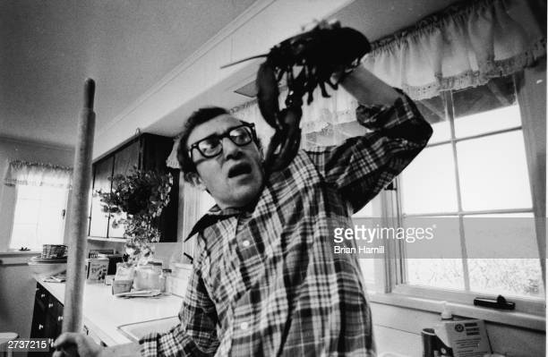American comic actor and film director Woody Allen stands in a kitchen and recoils from a lobster he is holding with a look of fright on the set of...