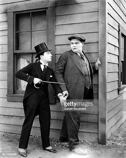 American comic actor director and producer Buster Keaton on the set of his movie Sherlock Jr