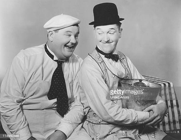 American comic actors Stan Laurel and Oliver Hardy circa 1930