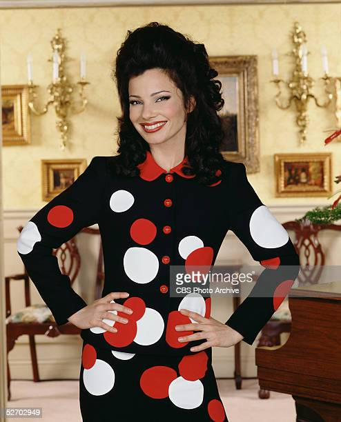 American comic actress Fran Drescher stands with arms akimbo in character as Fran Fine on the set of the CBS situation comedy 'The Nanny,'...
