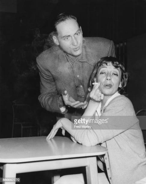 American comic actress Imogene Coca and her screen partner Sid Caesar during a press reception for the upcoming comedy series 'Sid Caesar Invites...
