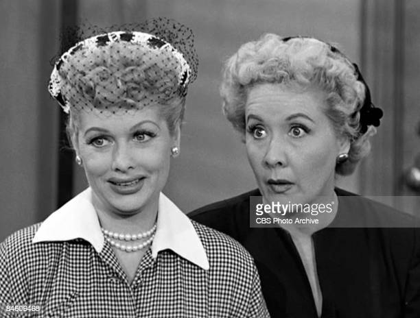 American comic actresses Lucille Ball , as Lucy Ricardo, and Vivian Vance , as Ethel Mertz, stand side by side in a scene from an episode of the...