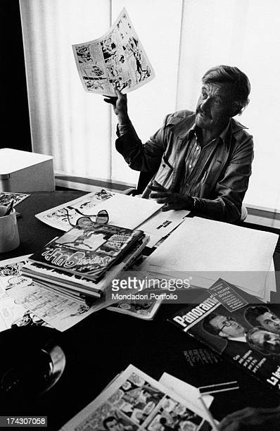 American comicstrip writer and publisher Stan Lee showing a comic strip 1970s