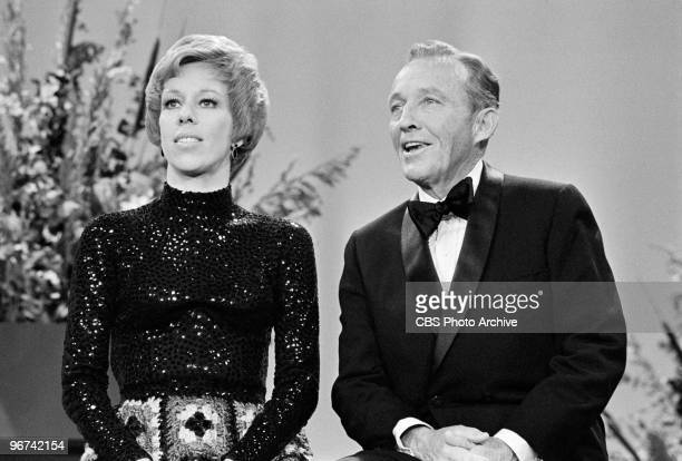 American commedienne and actress Carol Burnett and singer and actor Bing Crosby appear on an episode of the television comedy variety program 'The...