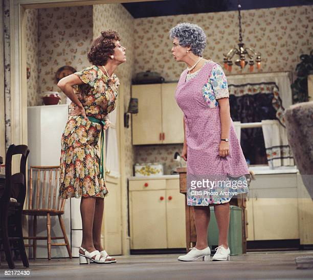 American commedienne and actress Vicki Lawrence as Mrs Thelma 'Mama' Harper shouts at fellow commedienne and actress Carol Burnett as Eunice Higgins...