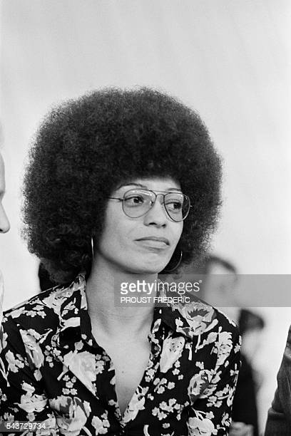 American communist and political activist Angela Davis during a demonstration of the French Communist Party in France