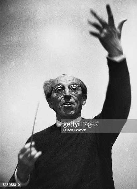 American composer Aaron Copland conducts December 9 1962