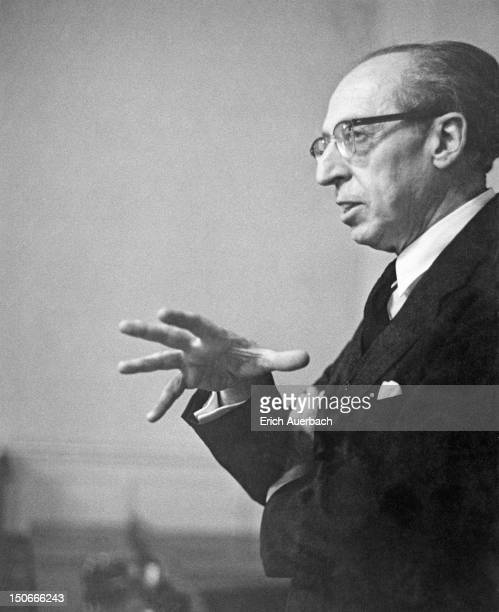 American composer Aaron Copland during a QA at the London Symphony Orchestra Club in London 12th April 1960