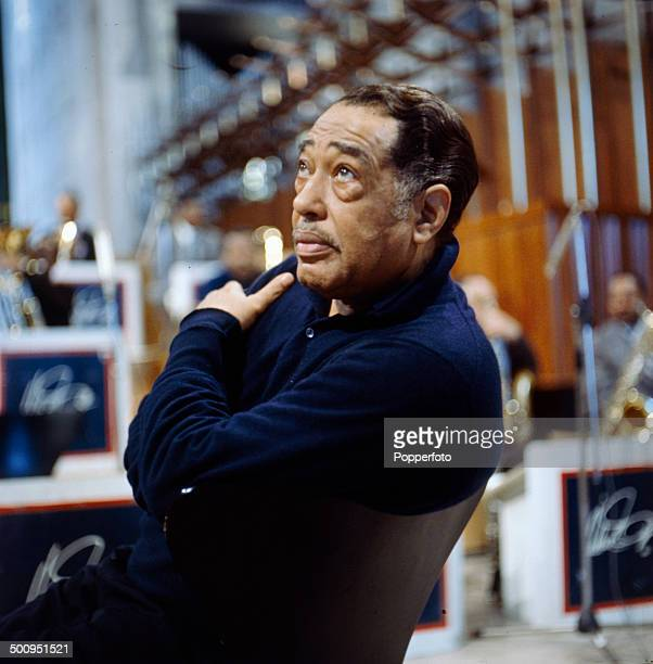 American composer and bandleader Duke Ellington pictured in Coventry Cathedral during a performance in February 1966
