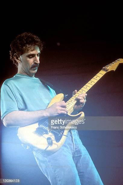 American composer and guitarist Frank Zappa performs live on stage at Ahoy in Rotterdam, Netherlands on 3rd May 1988.