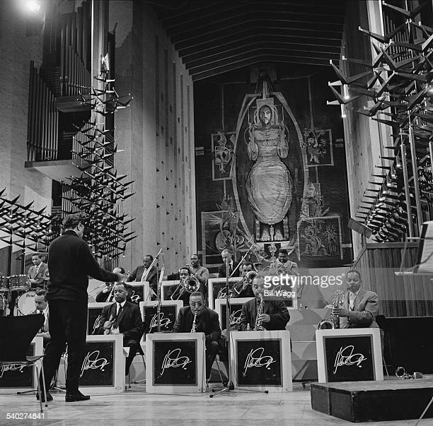 American composer and jazz bandleader Duke Ellington performs one of his Sacred Concerts in Coventry Cathedral Coventry UK 21st February 1966