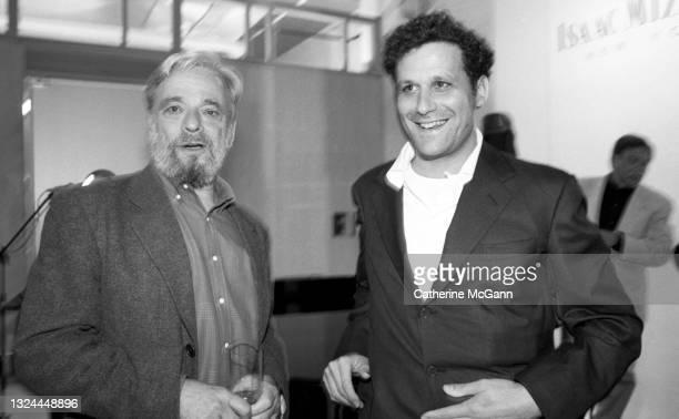 "American Composer and lyricist Stephen Sondheim and Fashion designer Isaac Mizrahi at Mizrahi""u2019s Soho showroom in July 1996 in New York City, New..."
