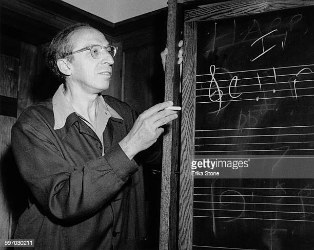 American composer and music teacher Aaron Copland during a class at Tanglewood the summer home of the Boston Symphony Orchestra in Massachusetts 1947