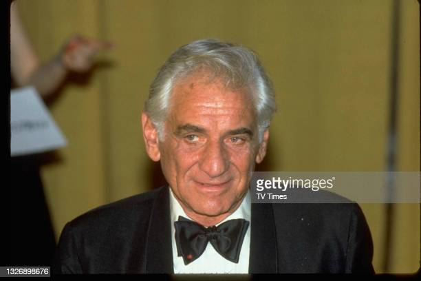 American composer and musician Leonard Bernstein photographed at the 27th Annual Grammy Awards at the Shrine Auditorium in Los Angeles, on February...
