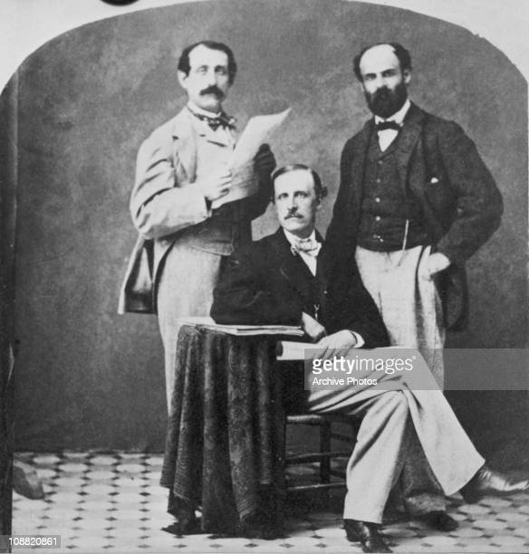American composer and pianist Louis Moreau Gottschalk , with friends in Saratoga, New York, circa 1860.