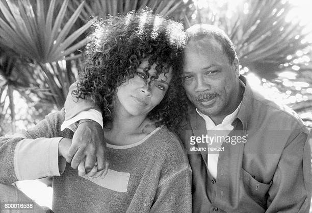 American composer and producer Quincy Jones with his daughter Jolie Jones