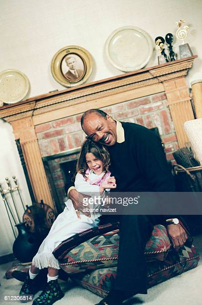 American composer and producer Quincy Jones with his daughter Kenya he had with German actress Nastassja Kinski