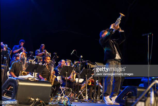 American composer, arranger, and musician Igmar Thomas leads the Revive Big Band during a performance at a dual celebration of Blue Note's 75th...