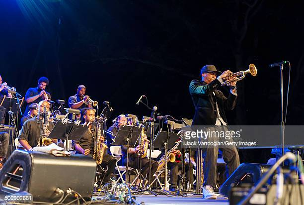 American composer arranger and musician Igmar Thomas leads the Revive Big Band during a performance at a dual celebration of Blue Note's 75th...