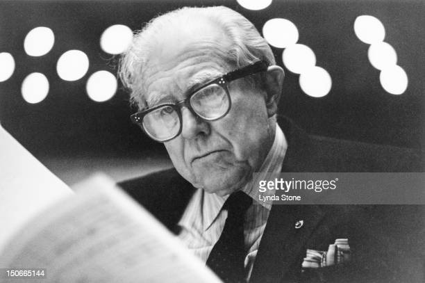 American composer Elliott Carter at the Royal Festival Hall in London, 17th February 1991.