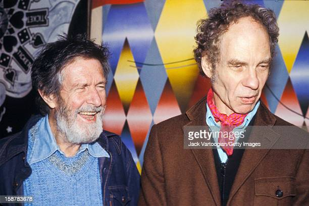 American composer John Cage and his partner dancer and choreographer Merce Cunningham attend the opening night of the Cunningham Dance Company's...