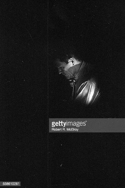 American composer John Cage performs his 'Variations VII' piece during '9 Evenings Theatre Engineering' at the 69th Regiment Amory New York New York...