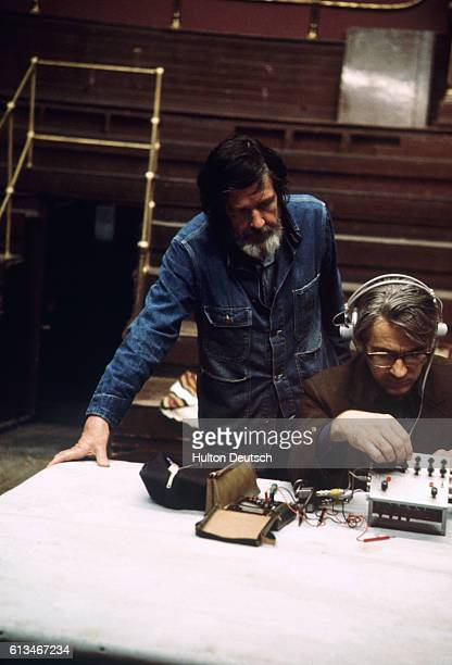 American composer John Cage works with David Tudor at the Royal Festival Hall May 22 1972
