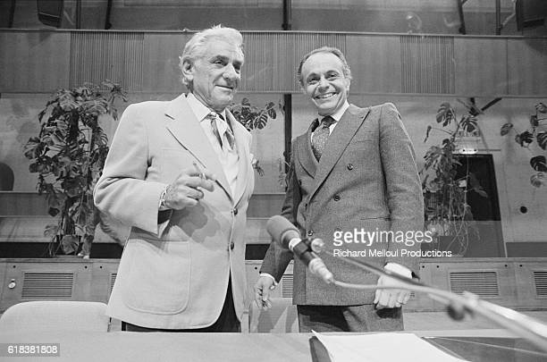 American composer Leonard Bernstein and French violinist Lorin Maazel attend a press conference at the Maison de la Radio in Paris The two have been...