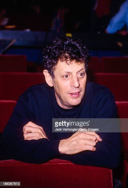 American composer Philip Glass takes a break during the final dress rehearsal prior to the world premiere of 'The Voyage' commissioned by the...