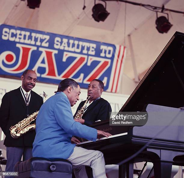 Duke Ellington with saxophonist Johnny Hodges performs on stage at the Newport Jazz Festival held in Newport Rhode Island on July 06 1968