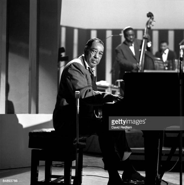 American composer, pianist and bandleader Duke Ellington plays a piano during recording of the BBC television show 'Jazz 625' in London on 20th...