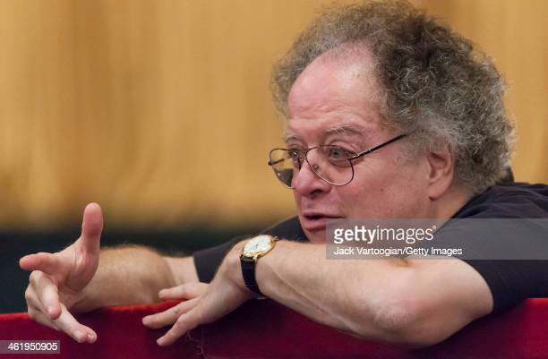 American conductor James Levine gives notes to his staff during a break in the final dress rehearsal before the season premiere of the Metropolitan...